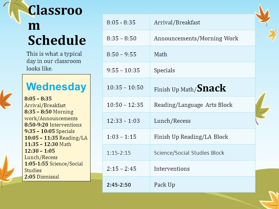 Classroo m Schedule 8:05 - 8:35 Arrival/Breakfast 8:35 – 8:50Announcements/Morning Work 8:50 – 9:55Math 9:55 – 10:35Specials 10:35 – 10:50 Finish Up Math/ Snack 10:50 – 12:35Reading/Language Arts Block 12:33 – 1:03Lunch/Recess 1:03 – 1:15Finish Up Reading/LA Block 1:15-2:15Science/Social Studies Block 2:15 – 2:45Interventions 2:45-2:50 Pack Up This is what a typical day in our classroom looks like.