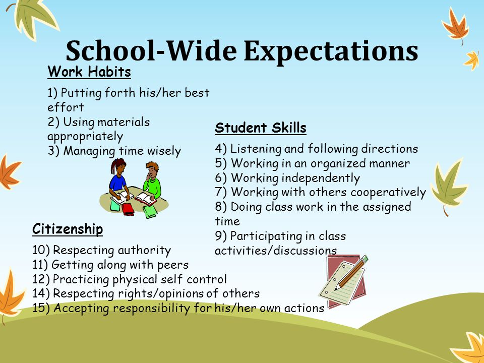 School-Wide Expectations Work Habits 1) Putting forth his/her best effort 2) Using materials appropriately 3) Managing time wisely Student Skills 4) Listening and following directions 5) Working in an organized manner 6) Working independently 7) Working with others cooperatively 8) Doing class work in the assigned time 9) Participating in class activities/discussions Citizenship 10) Respecting authority 11) Getting along with peers 12) Practicing physical self control 14) Respecting rights/opinions of others 15) Accepting responsibility for his/her own actions