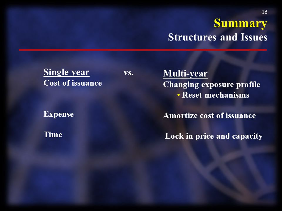 16 Single year vs. Cost of issuance Expense Time Multi-year Changing exposure profile Reset mechanisms Amortize cost of issuance Lock in price and cap