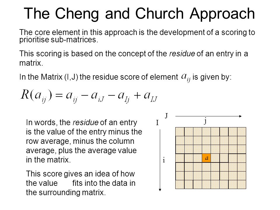 The Cheng and Church Approach The core element in this approach is the development of a scoring to prioritise sub-matrices. This scoring is based on t