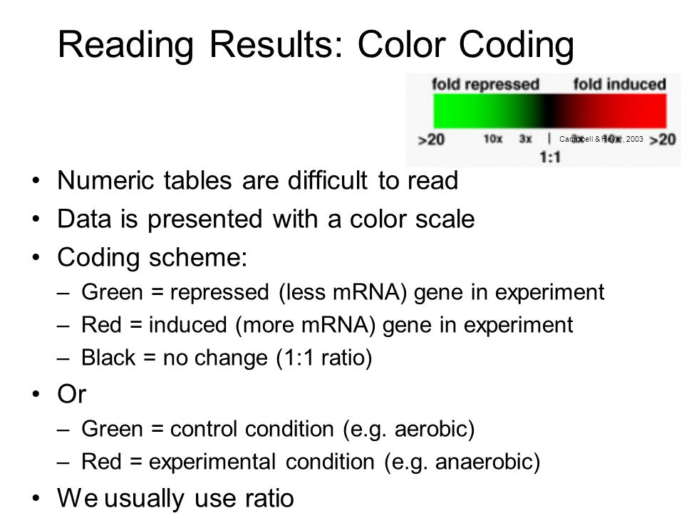 Reading Results: Color Coding Numeric tables are difficult to read Data is presented with a color scale Coding scheme: –Green = repressed (less mRNA)