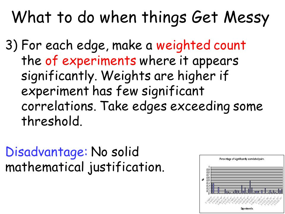 What to do when things Get Messy 3) For each edge, make a weighted count the of experiments where it appears significantly. Weights are higher if expe