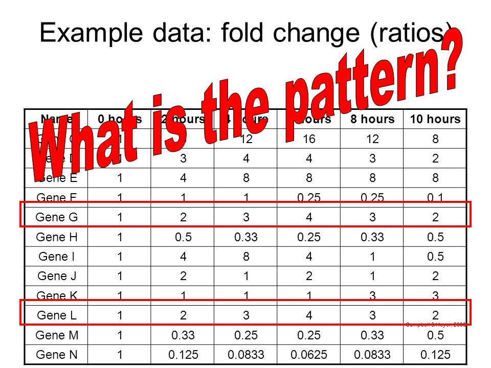 Example data: fold change (ratios) Name0 hours2 hours4 hours6 hours8 hours10 hours Gene C181216128 Gene D134432 Gene E148888 Gene F1110.25 0.1 Gene G123432 Gene H10.50.330.250.330.5 Gene I148410.5 Gene J121212 Gene K111133 Gene L123432 Gene M10.330.25 0.330.5 Gene N10.1250.08330.06250.08330.125 Campbell & Heyer, 2003