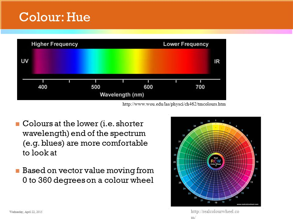 Wednesday, April 22, 2015 Colour: Hue Colours at the lower (i.e.