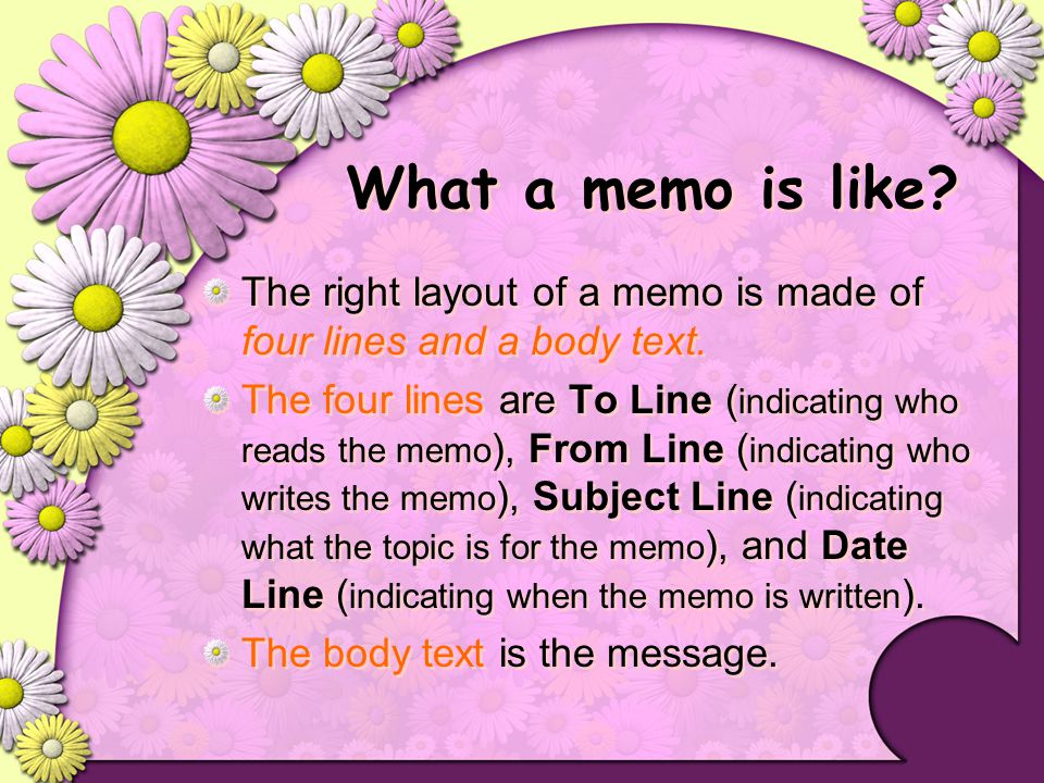 How to write a memo.Set a space line between each paragraph.