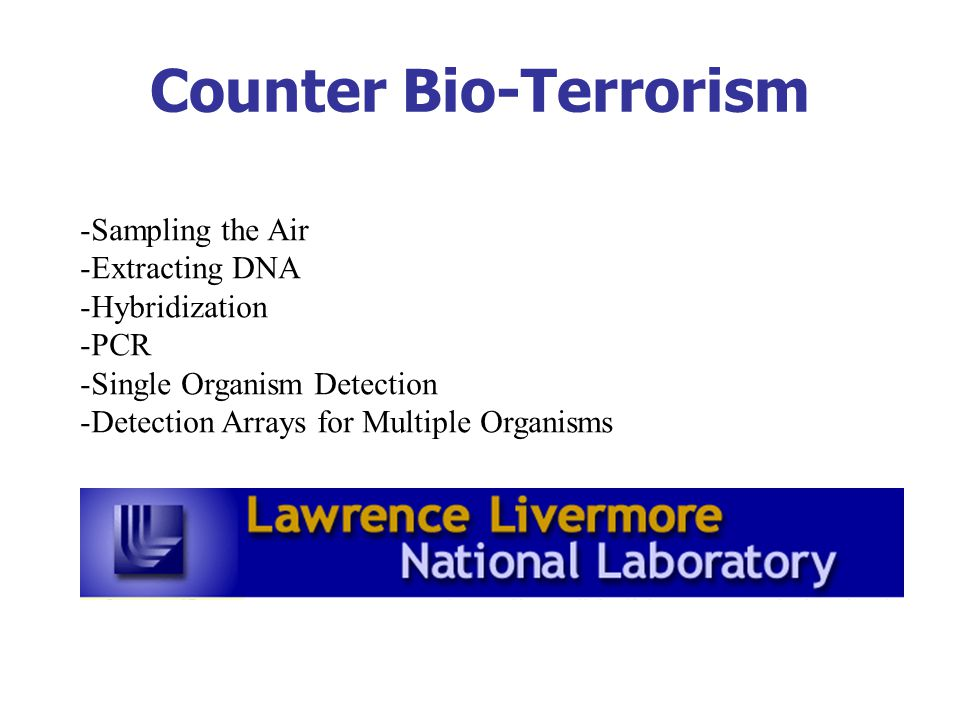 Counter Bio-Terrorism -Sampling the Air -Extracting DNA -Hybridization -PCR -Single Organism Detection -Detection Arrays for Multiple Organisms