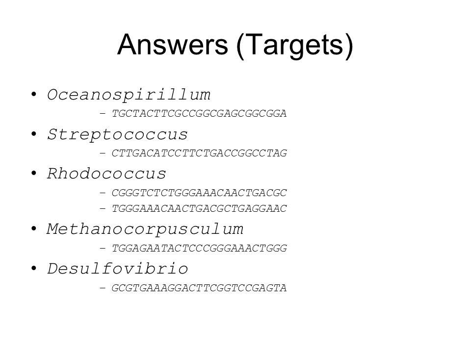 Answers (Targets) Oceanospirillum –TGCTACTTCGCCGGCGAGCGGCGGA Streptococcus –CTTGACATCCTTCTGACCGGCCTAG Rhodococcus –CGGGTCTCTGGGAAACAACTGACGC –TGGGAAAC