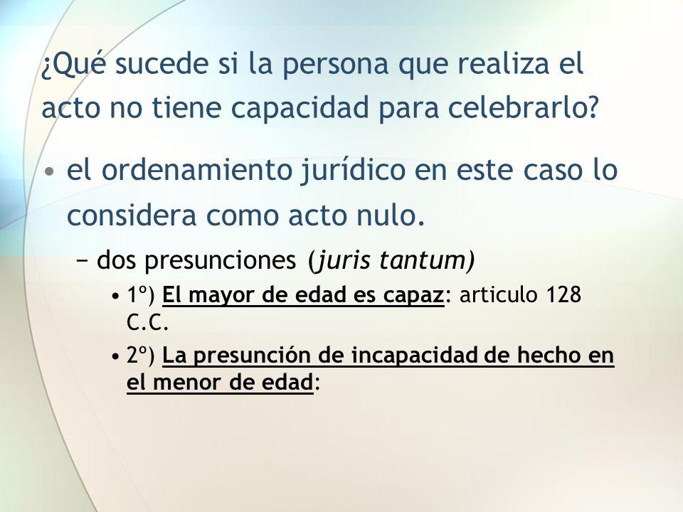 ¿Qué sucede si la persona que realiza el acto no tiene capacidad para celebrarlo? el ordenamiento jurídico en este caso lo considera como acto nulo. −