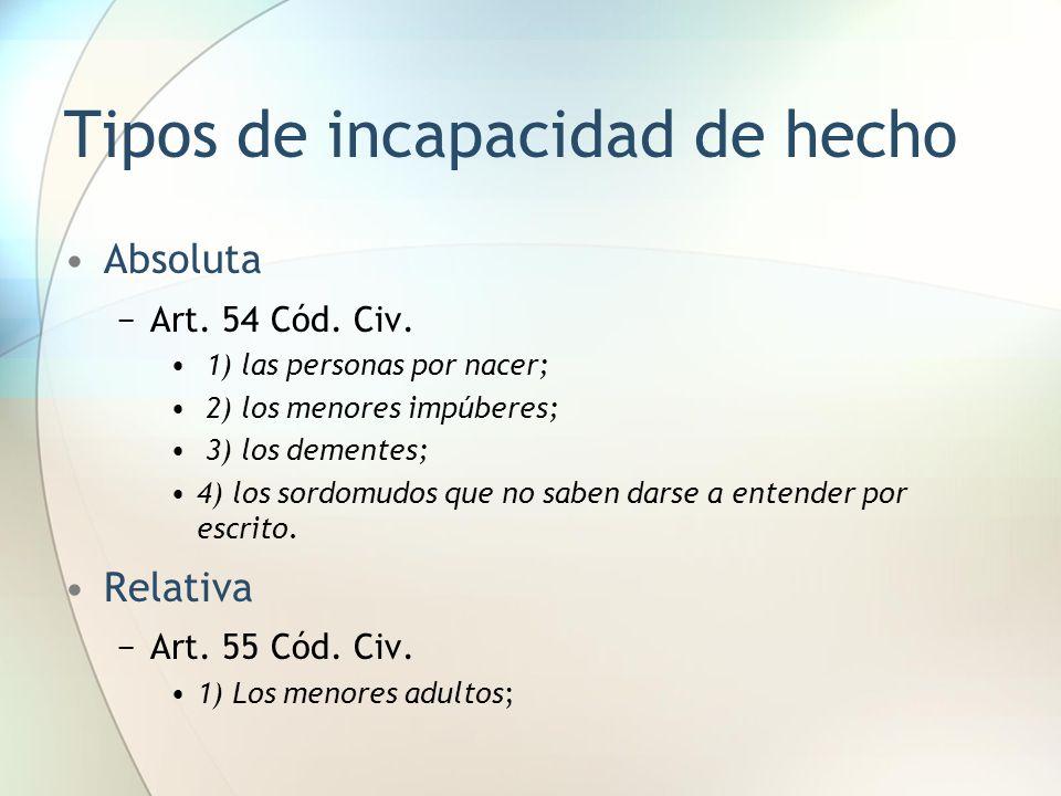 Tipos de incapacidad de hecho Absoluta −Art. 54 Cód. Civ. 1) las personas por nacer; 2) los menores impúberes; 3) los dementes; 4) los sordomudos que