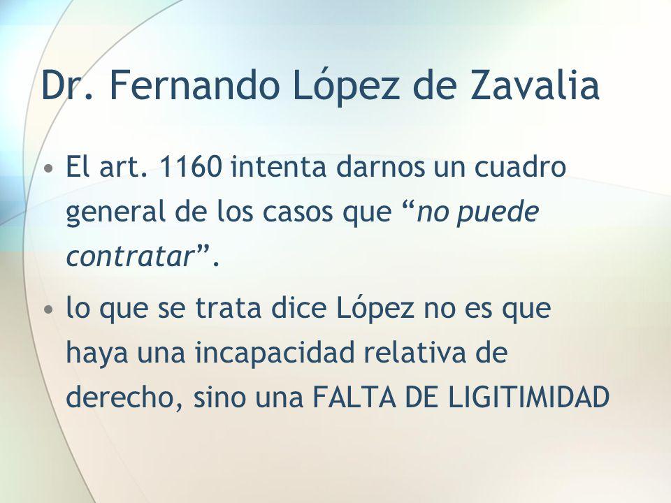 """Dr. Fernando López de Zavalia El art. 1160 intenta darnos un cuadro general de los casos que """"no puede contratar"""". lo que se trata dice López no es qu"""