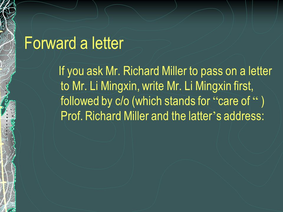 Mr. Li Mingxin c/o Prof. Richard Miller 502 North Olive Ave. West Palm Beach, Florida 33402 U.S.A.