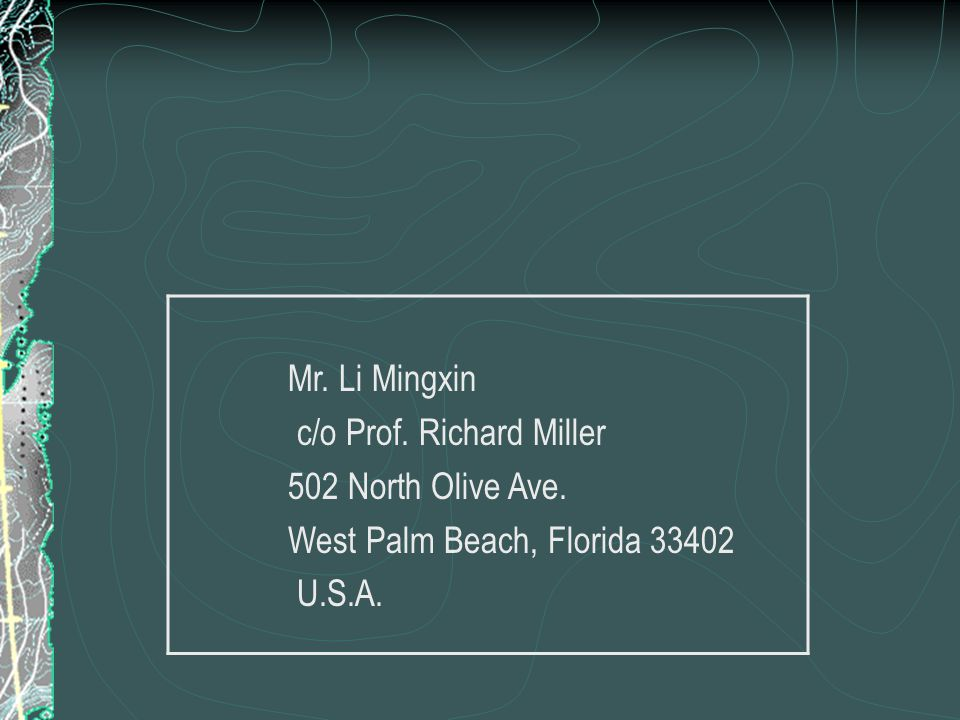 Forward a letter in person Prof. Richard Miller Kindness of Mr. Li Mingxin