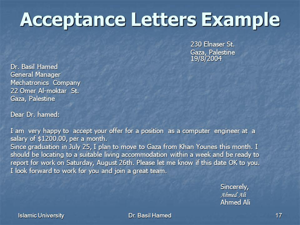 Islamic UniversityDr.Basil Hamed17 Acceptance Letters Example 230 Elnaser St.