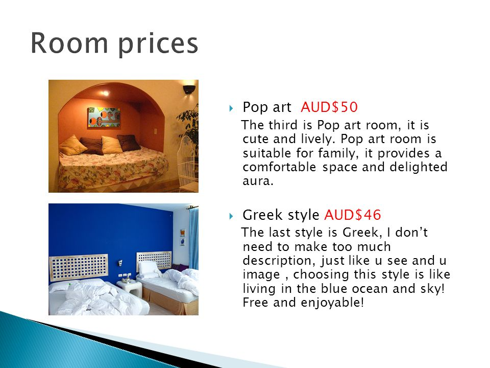  Pop art AUD$50 The third is Pop art room, it is cute and lively.