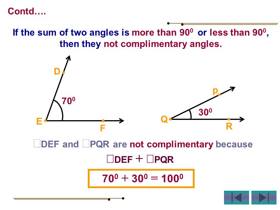 70 0 D E F 30 0 p Q R If the sum of two angles is more than 90 0 or less than 90 0, then they not complimentary angles.