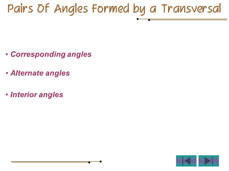 Pairs Of Angles Formed by a Transversal Corresponding angles Alternate angles Interior angles