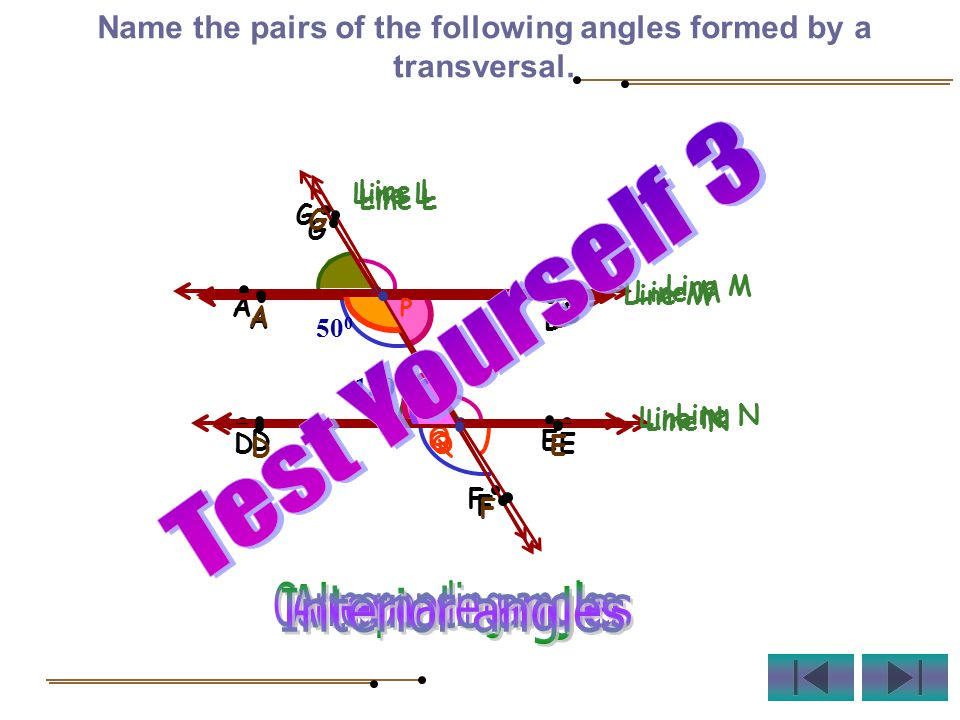 Name the pairs of the following angles formed by a transversal.