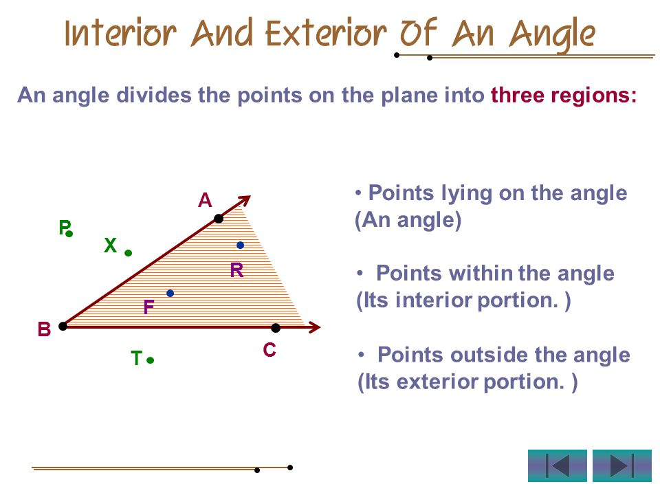 An angle divides the points on the plane into three regions: A B C F R P T X Interior And Exterior Of An Angle Points lying on the angle (An angle) Points within the angle (Its interior portion.