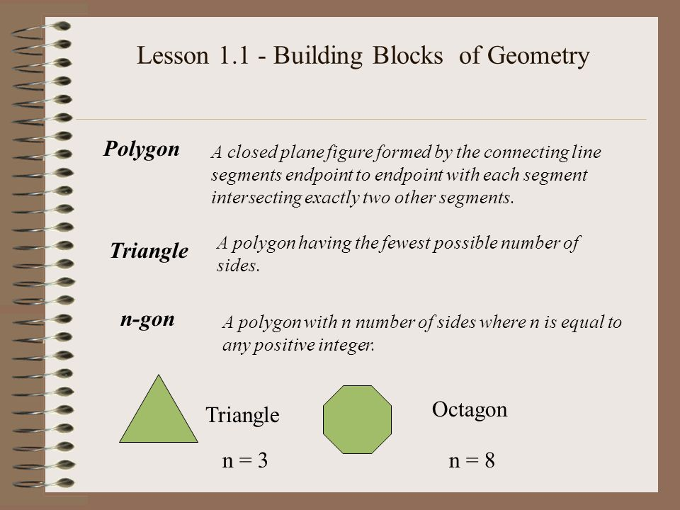 Polygon A closed plane figure formed by the connecting line segments endpoint to endpoint with each segment intersecting exactly two other segments. T