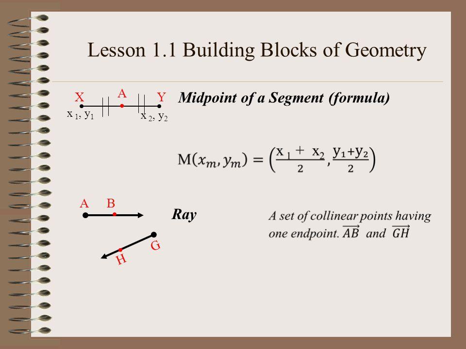 Ray A XY A Midpoint of a Segment (formula) x 1, y 1 x 2, y 2 B G H Lesson 1.1 Building Blocks of Geometry