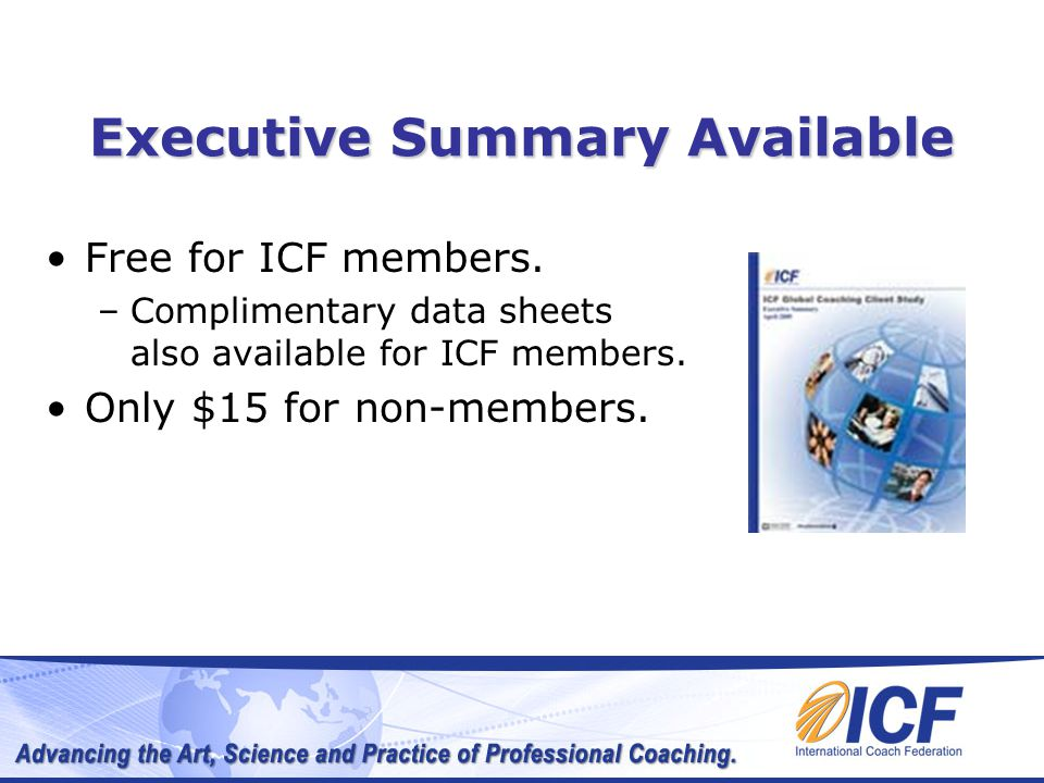 Executive Summary Available Free for ICF members.
