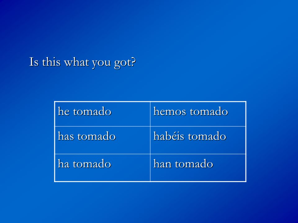 Is this what you got? he tomado hemos tomado has tomado habéis tomado ha tomado han tomado