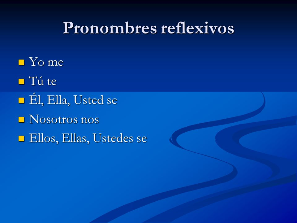 Pronombres reflexivos Yo me Yo me Tú te Tú te Él, Ella, Usted se Él, Ella, Usted se Nosotros nos Nosotros nos Ellos, Ellas, Ustedes se Ellos, Ellas, Ustedes se