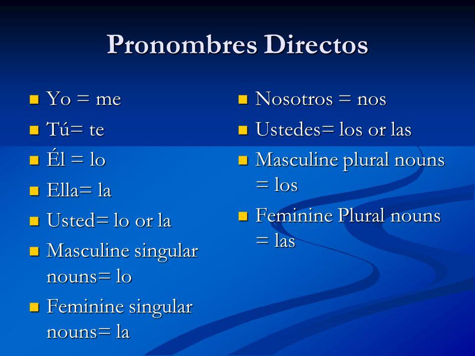 Pronombres Directos Yo = me Yo = me Tú= te Tú= te Él = lo Él = lo Ella= la Ella= la Usted= lo or la Usted= lo or la Masculine singular nouns= lo Masculine singular nouns= lo Feminine singular nouns= la Feminine singular nouns= la Nosotros = nos Nosotros = nos Ustedes= los or las Ustedes= los or las Masculine plural nouns = los Masculine plural nouns = los Feminine Plural nouns = las Feminine Plural nouns = las