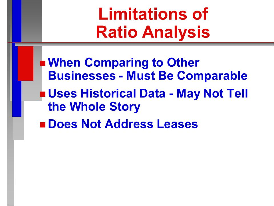 Limitations of Ratio Analysis n n Do Not Resolve Problems n n Only Indicate That There May Be a Problem n n Comparisons Must Be From Related Numbers n n Most Useful When Compared to a Standard