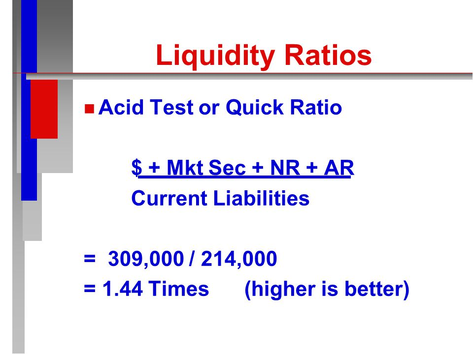 Liquidity Ratios n n Current Ratio Current Assets Current Liabilities = 338,000 / 214,000 = 1.58 Times (higher is better)