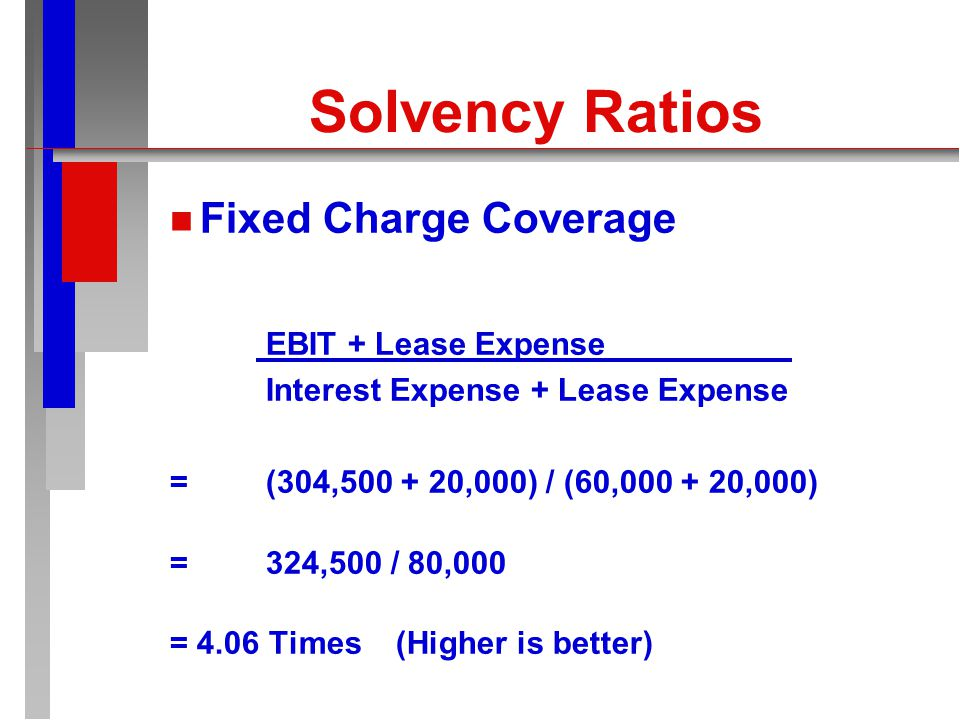 Solvency Ratios n n Number of Times Interest Earned EBIT Interest Expense = 304,500 / 60,000 = 5.08 times (Higher is better)