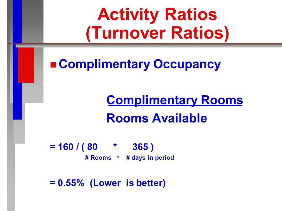 Activity Ratios (Turnover Ratios) n n Paid Occupancy Percentage Paid Rooms Occupied Available Rooms = 21,000 / ( 80 * 365 ) # Rooms * # days in period = 71.92% (higher is better)