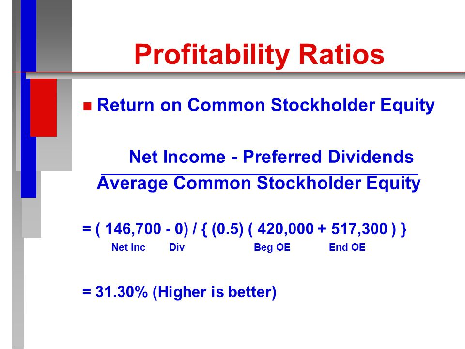 Profitability Ratios n n Return on Owner's Equity Net Income Average Owner's Equity = 146,700 / { (0.5) ( 420,000 + 517,300 ) } Beg OE End OE = 31.30% (Higher is better)