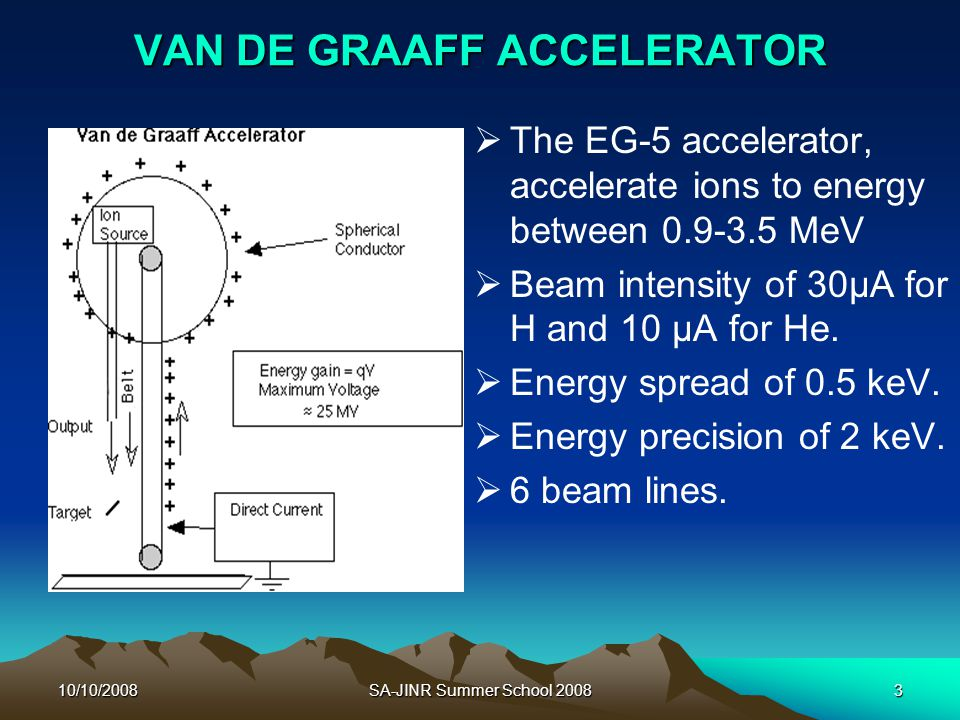 10/10/2008SA-JINR Summer School 20083 VAN DE GRAAFF ACCELERATOR   The EG-5 accelerator, accelerate ions to energy between 0.9-3.5 MeV   Beam inten