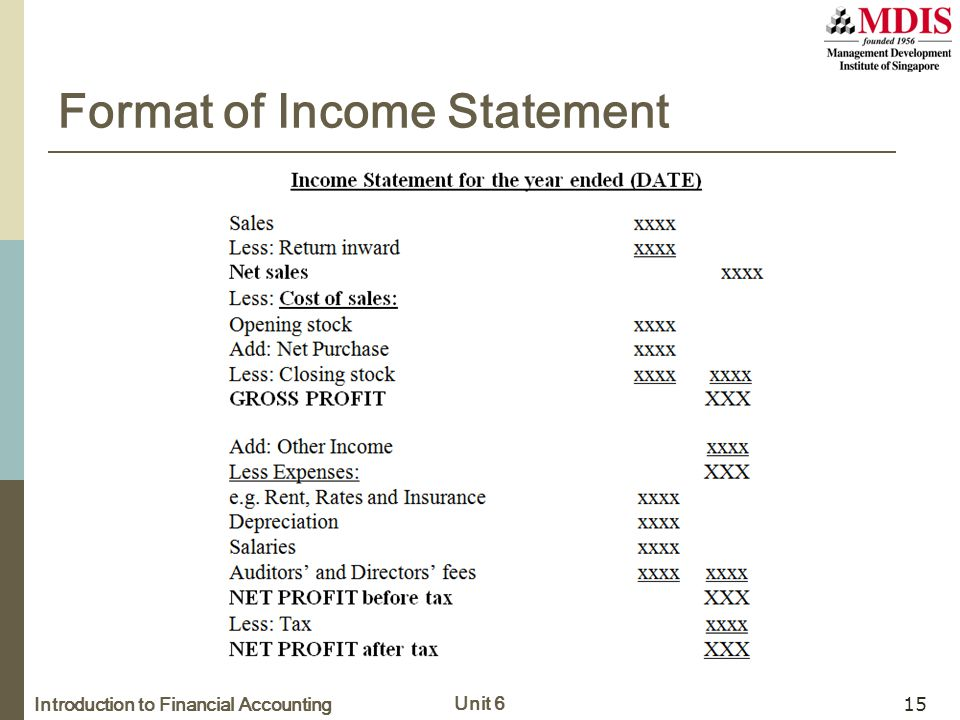 Introduction to Financial Accounting Unit 6 15 Format of Income Statement
