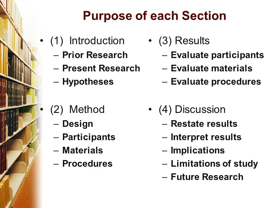Purpose of each Section (1) Introduction –Prior Research –Present Research –Hypotheses (2) Method –Design –Participants –Materials –Procedures (3) Results –Evaluate participants –Evaluate materials –Evaluate procedures (4) Discussion –Restate results –Interpret results –Implications –Limitations of study –Future Research