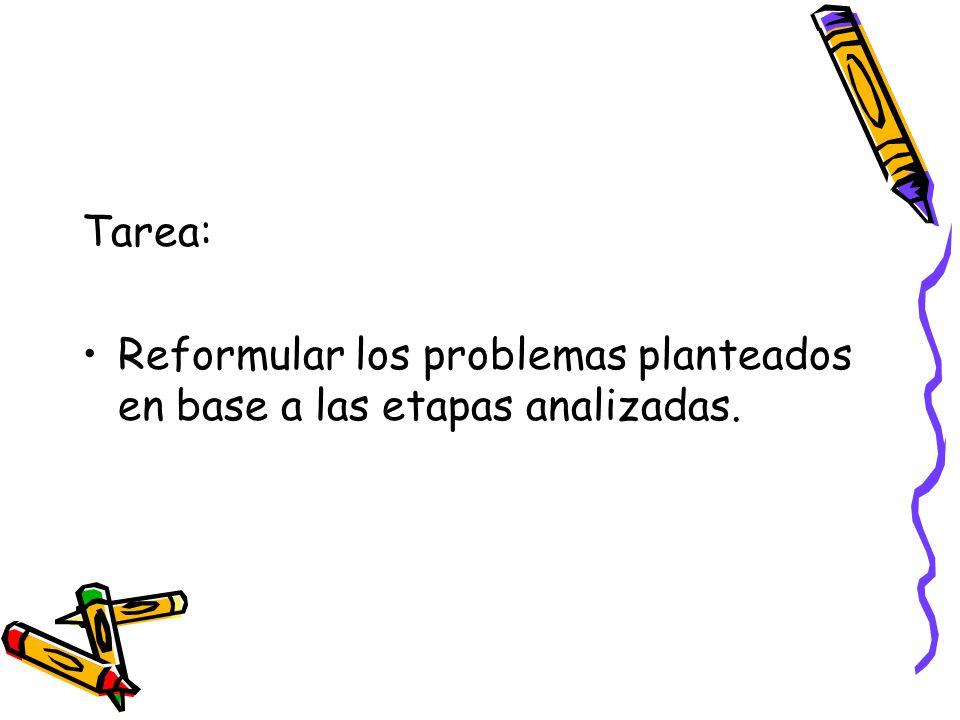 Tarea: Reformular los problemas planteados en base a las etapas analizadas.