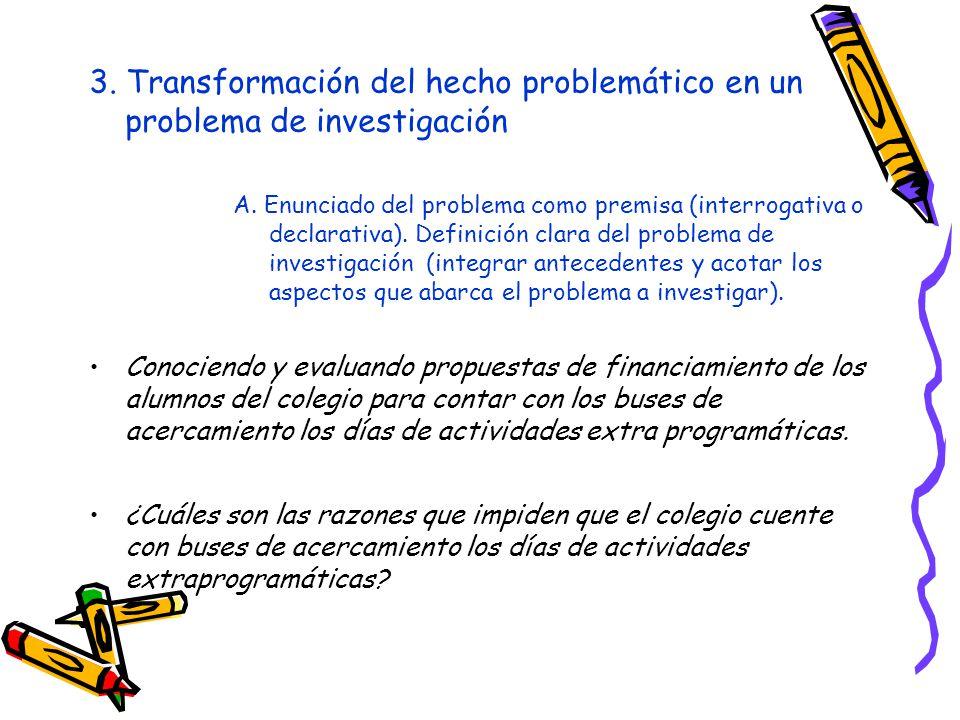 3. Transformación del hecho problemático en un problema de investigación A. Enunciado del problema como premisa (interrogativa o declarativa). Definic
