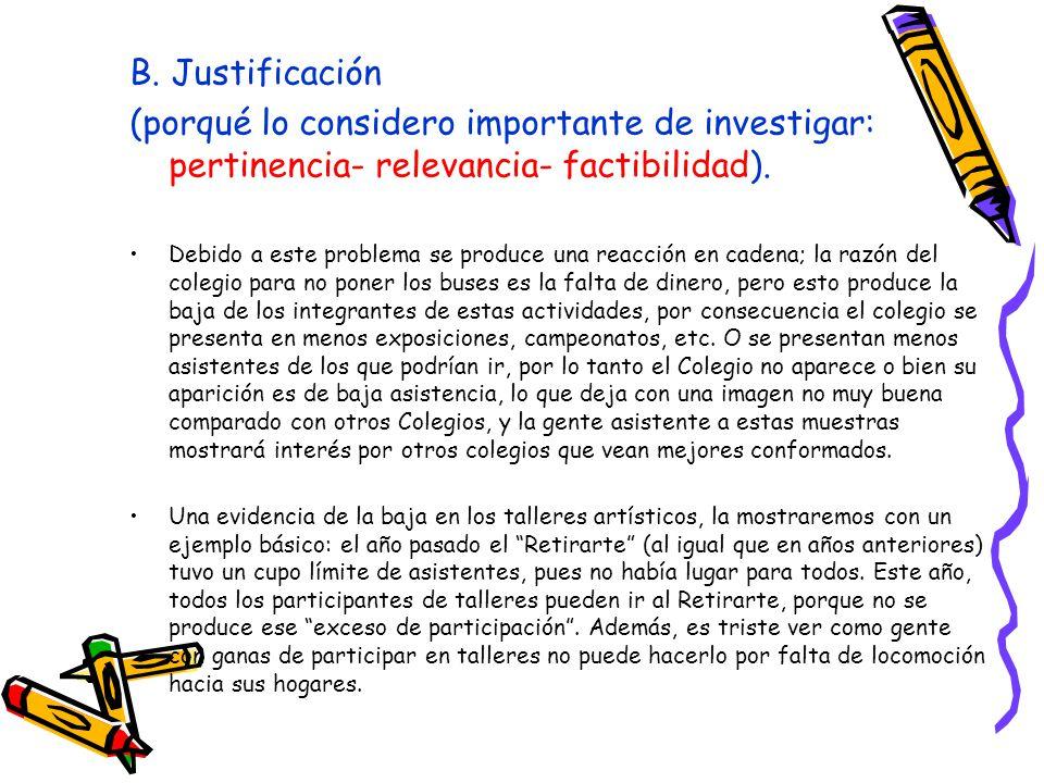 B. Justificación (porqué lo considero importante de investigar: pertinencia- relevancia- factibilidad). Debido a este problema se produce una reacción
