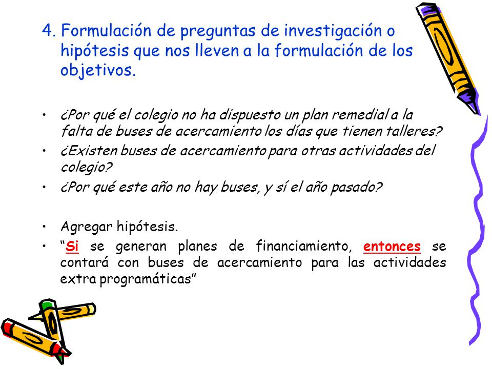 4. Formulación de preguntas de investigación o hipótesis que nos lleven a la formulación de los objetivos. ¿Por qué el colegio no ha dispuesto un plan