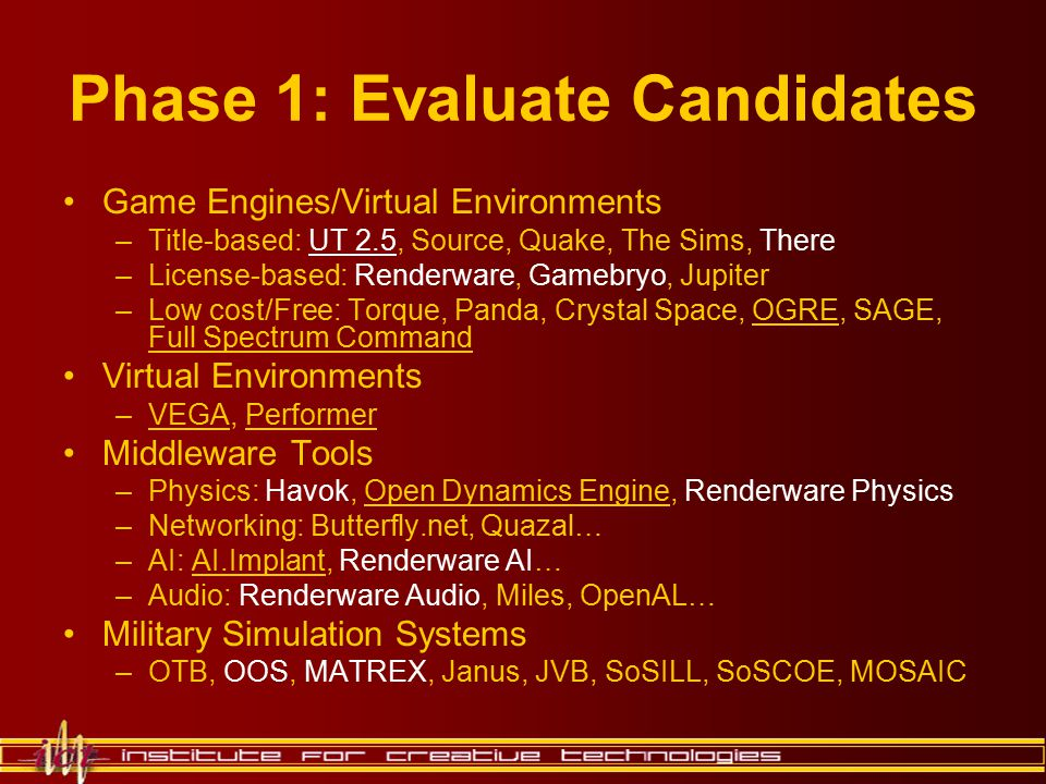 Phase 1: Evaluate Candidates Game Engines/Virtual Environments –Title-based: UT 2.5, Source, Quake, The Sims, There –License-based: Renderware, Gamebr