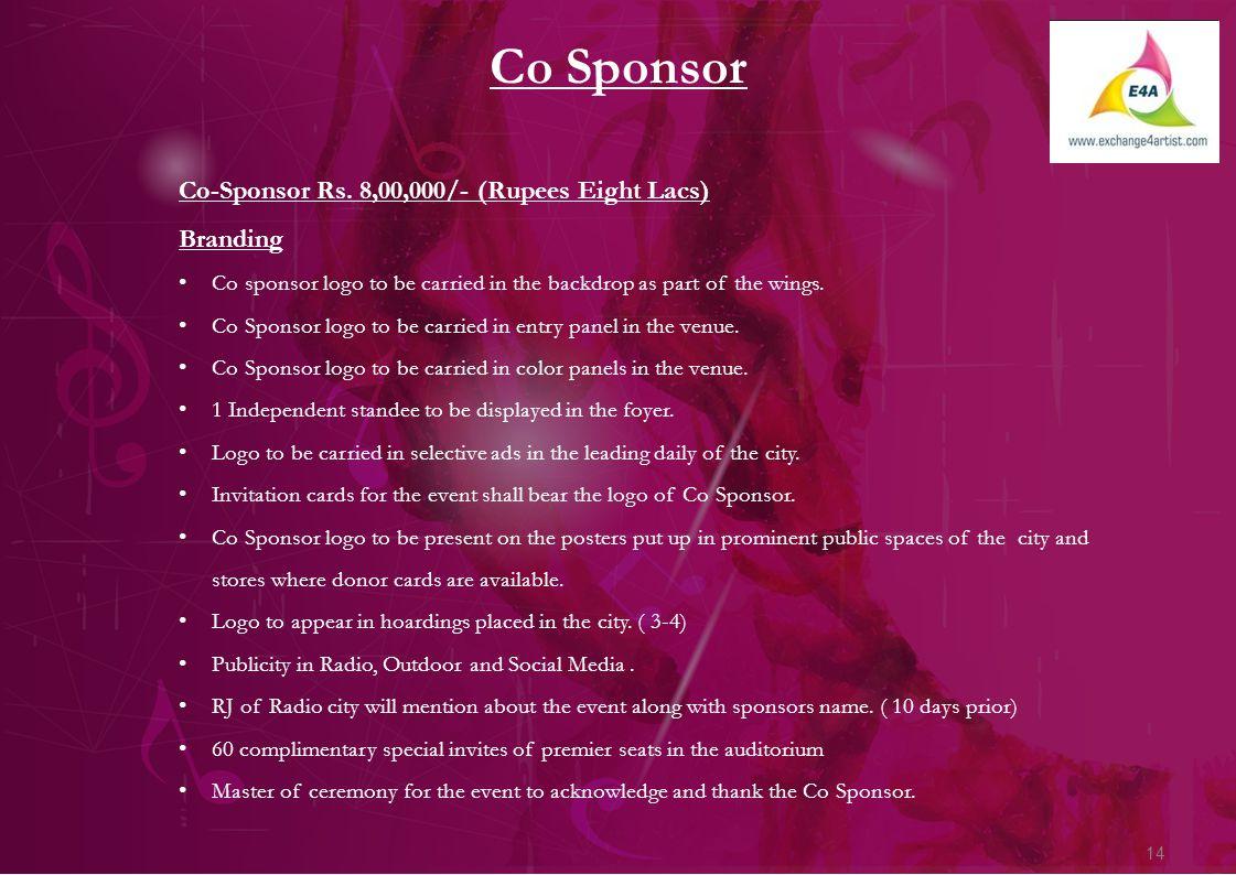 14 Co Sponsor Co-Sponsor Rs.