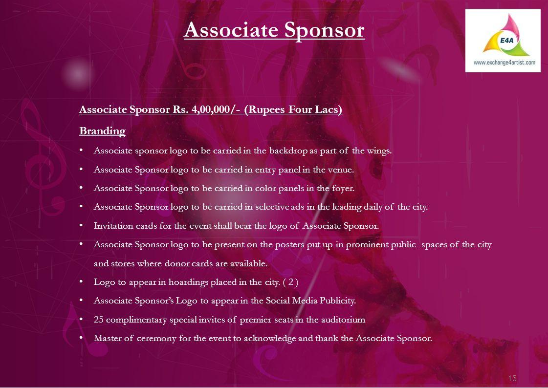 15 Associate Sponsor Associate Sponsor Rs.