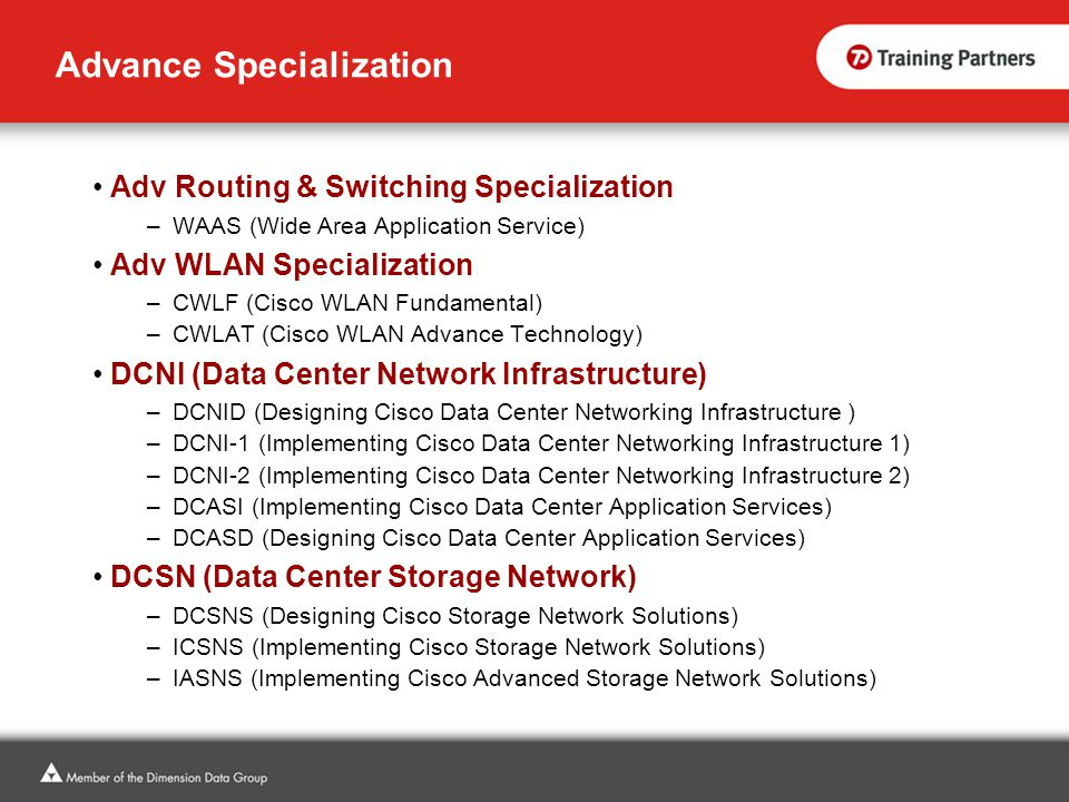 Advance Specialization Adv Routing & Switching Specialization –WAAS (Wide Area Application Service) Adv WLAN Specialization –CWLF (Cisco WLAN Fundamen
