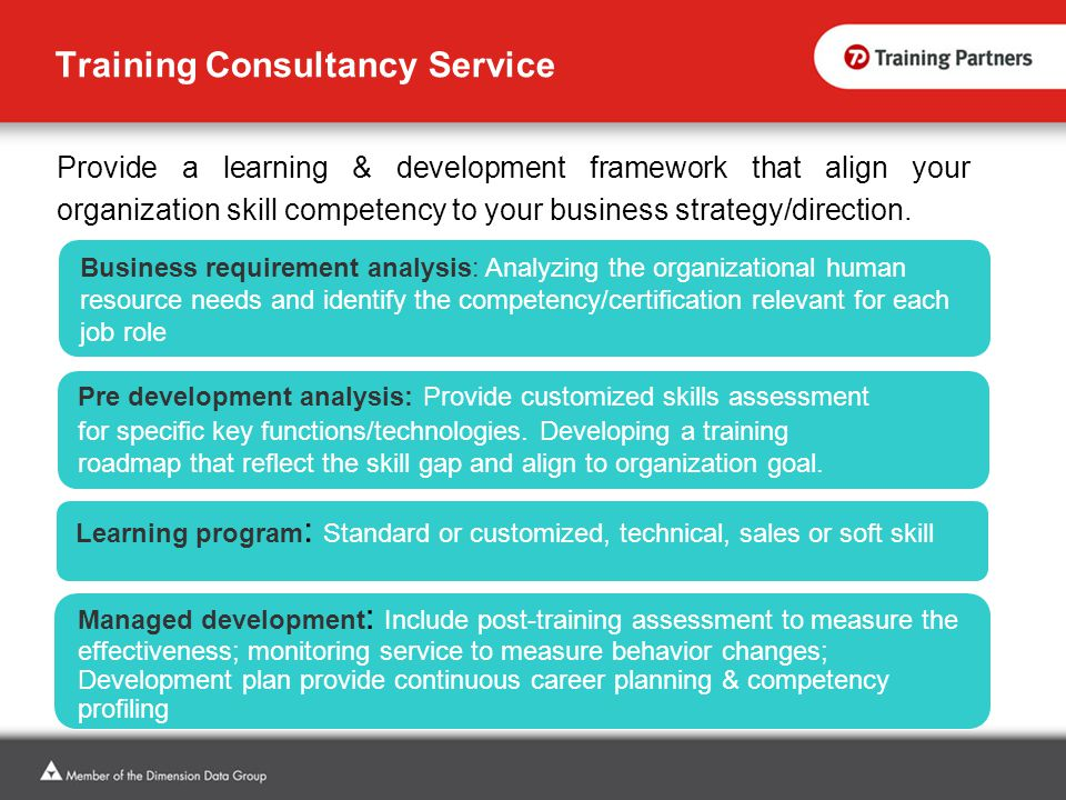 Training Consultancy Service Provide a learning & development framework that align your organization skill competency to your business strategy/direction.