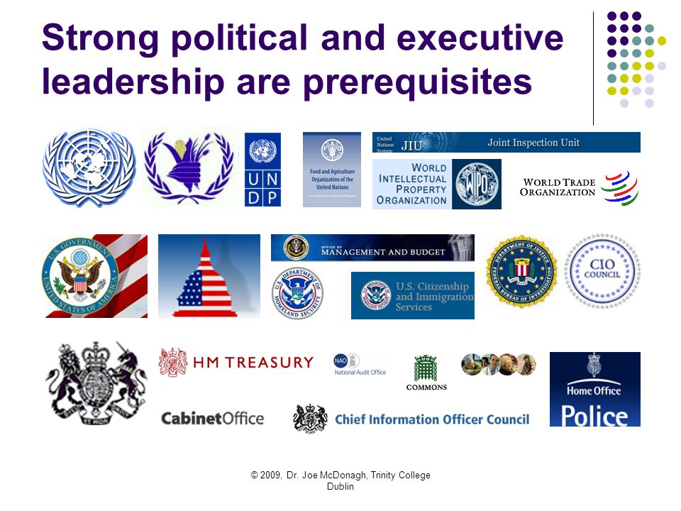 © 2009, Dr. Joe McDonagh, Trinity College Dublin Strong political and executive leadership are prerequisites