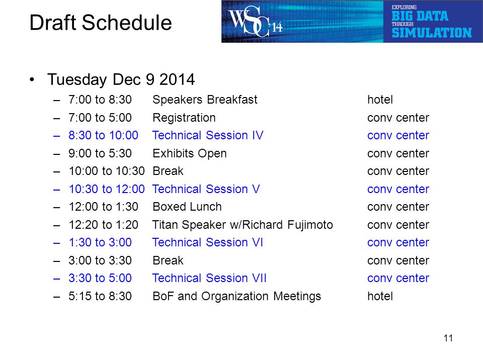 Draft Schedule Tuesday Dec 9 2014 –7:00 to 8:30 Speakers Breakfast hotel –7:00 to 5:00 Registrationconv center –8:30 to 10:00 Technical Session IV conv center –9:00 to 5:30 Exhibits Open conv center –10:00 to 10:30 Breakconv center –10:30 to 12:00 Technical Session Vconv center –12:00 to 1:30 Boxed Lunchconv center –12:20 to 1:20 Titan Speaker w/Richard Fujimotoconv center –1:30 to 3:00 Technical Session VIconv center –3:00 to 3:30 Breakconv center –3:30 to 5:00 Technical Session VIIconv center –5:15 to 8:30 BoF and Organization Meetingshotel 11