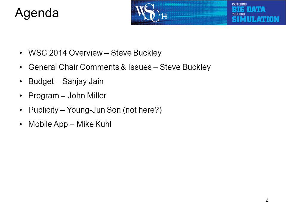 Agenda 2 WSC 2014 Overview – Steve Buckley General Chair Comments & Issues – Steve Buckley Budget – Sanjay Jain Program – John Miller Publicity – Young-Jun Son (not here ) Mobile App – Mike Kuhl