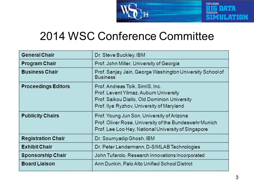 2014 WSC Conference Committee 3 General ChairDr. Steve Buckley, IBM Program ChairProf.