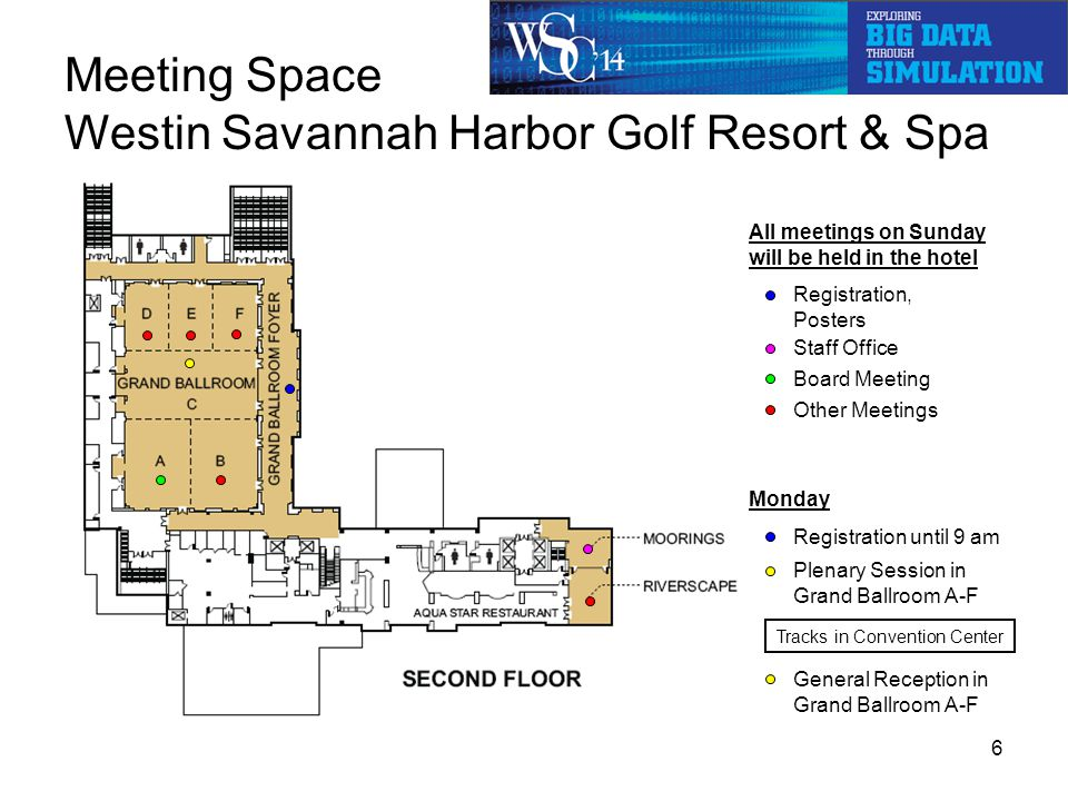 Meeting Space Westin Savannah Harbor Golf Resort & Spa All meetings on Sunday will be held in the hotel Registration, Posters Other Meetings Board Meeting Monday Plenary Session in Grand Ballroom A-F Staff Office Registration until 9 am General Reception in Grand Ballroom A-F 6 Tracks in Convention Center